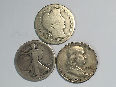 SET OF 3 DIFF. SILVER  HALF DOLLARS = 1898-s BABER; 1917 W.L. & 1952-d FRANKLIN