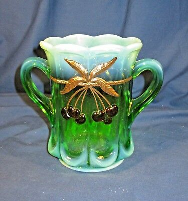 MOSSER GREEN OPALESCENT w CHERRY & CABLE PATTTEN SPOONER / SPOON HOLDER