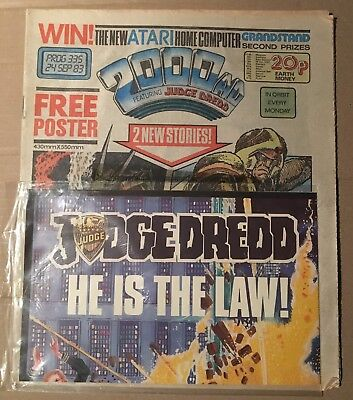 Rare 2000AD comic and Poster 335 1983 Judge Dredd