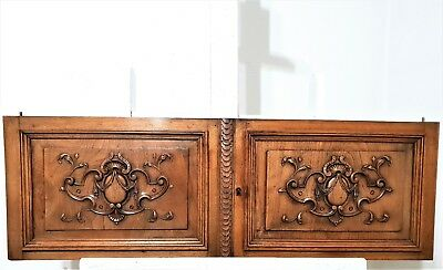 Pair Gothic Coat Of Arms Cabinet Door Antique French Carved Wood Salvaged Panel