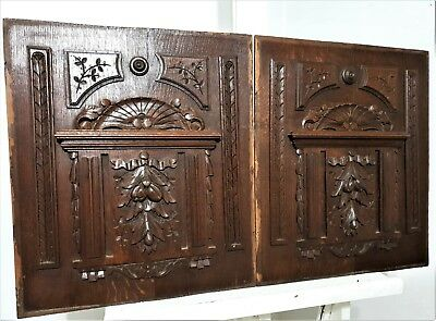 Pair gothic rosace panel Antique french wooden wall decor architectural salvage