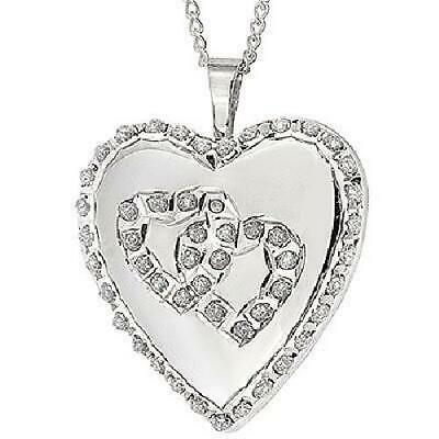 TOC Sterling Silver Platinum Plated Crystal Set Heart Locket Necklace 18""