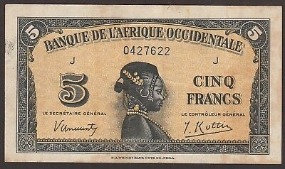 French West Africa P-28a / B115a  1942 5 Francs   NO RESERVE   J 0427622
