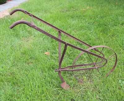 Vintage Hand Plow - Cultivator Tiller Primitive Farm Tool - Yard Decor  - Metal