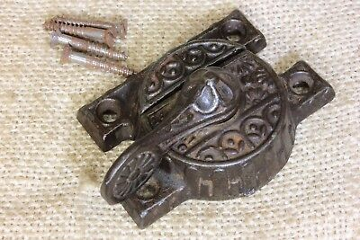 Window sash lock swing arm latch 1880's vintage old rustic flower decorated