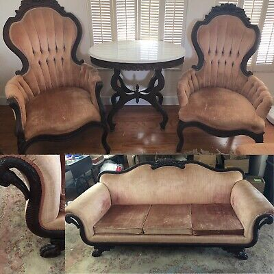 4-Pc Victorian Mahogany Furniture Set Crushed Cherry Velvet Pelham Crest Leckie