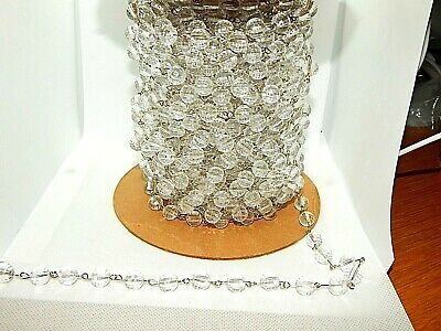 By The Foot-Silver Plated Chain Roll W/10MM triple Faceted Clear Beads(#CH268)