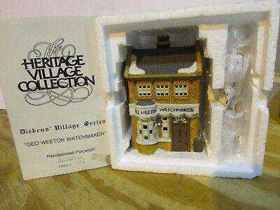 Dept 56 59269 Geo Weeton Watchmaker Dickens Village Lighted Bldg W/cord D14