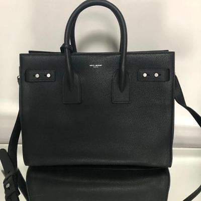 2 New Black Leather Grain Sac 890 Jour Small Auth Saint De Laurent SOw4RqS1
