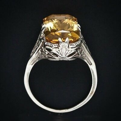 Vintage Women Ring Citrine Party Wedding Natural Engagement Size 6-10