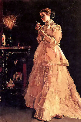 Oil painting Alfred Stevens - une poupee nice young girl with a doll in room art