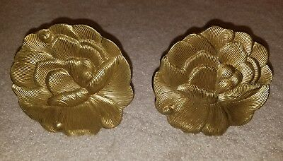 2 Vintage LARGE Heavy Duty Solid Antique Brass Flower Curtain Tie Backs India