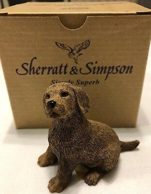 "2003 Sherratt & Simpson Chocolate Lab Labrador Puppy Dog Figurine 3"" #89110"