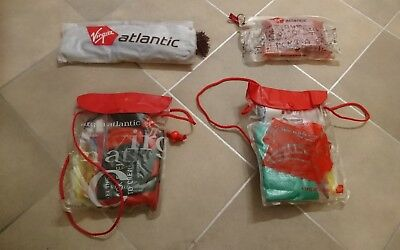 4 Vintage Virgin Atlantic Airways plane amenity kits British seller headphones