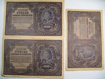 3 1919 Poland 1000 TYSIAC Marek Currency Banknote. 2nd Polish Republic. lot#24