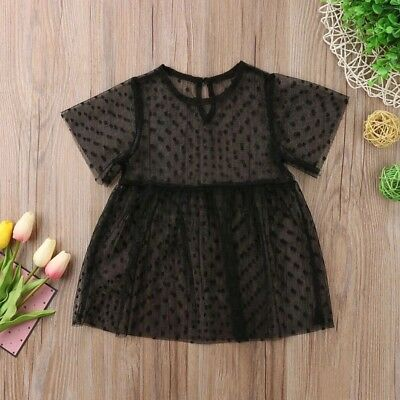 Toddler kids baby Girls Dots Tulle O-Neck Knee Length Black Dress