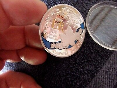 **  ER11  **    90th  BIRTHDAY  MEDALLION .  ENCASED .   CANADA