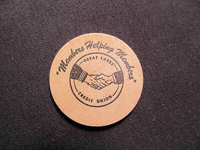 North Chicago, Illinois Wooden Nickel token - Great Lakes Credit Union Wood Coin