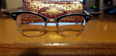 "Vintage Victory 5 1/2"" Horn Rim Cat Eye Glasses Frames with Case Free shipping"
