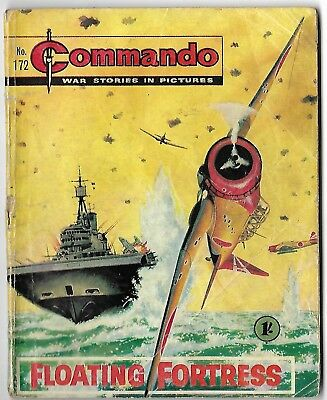 "Dated 1965. Vintage COMMANDO War Picture Comic # 172. ""Floating Fortress"""