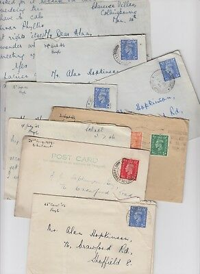 1939 - 1946 Lot Letters Cards Correspondence to Sheffield - Hopkinson