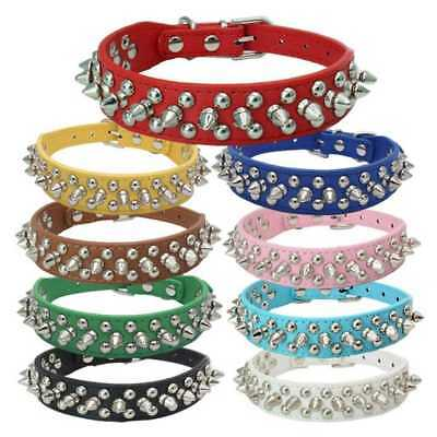 Pet Dog Puppy Cat Rivet Spiked Studded Neck Strap PU Leather Buckle Collar