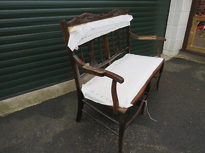 Edwardian Carved Mahogany Framed Parlour Settee  Hall Seat Sofa Chaise - Project
