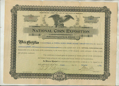 1908 National Corn Exposition  Nebraska Stock Certificate