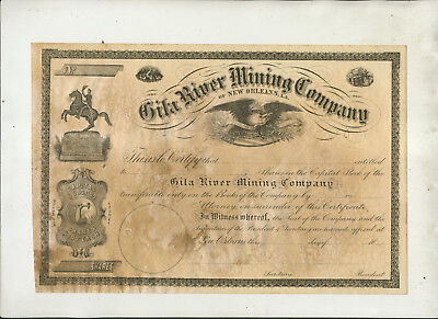Unused Gila River Mining Company Of New Orleans Stock Certificate