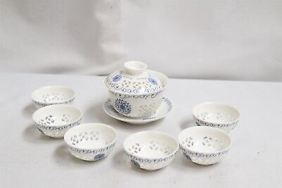 Vintage Chinese Porcelain Cutout Rice Pattern Flowers 8pc Rice Bowl Set Signed