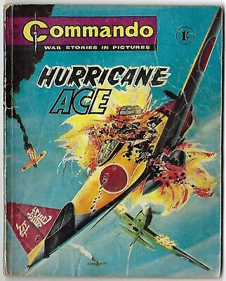 "Dated 1965. Vintage COMMANDO War Picture Comic # 166. ""Hurricane Ace"""