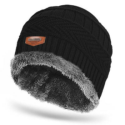 Men Women Cable Knit Thick Warm Winter Wool Slouchy Beanie Hat Cap Baggy Casual