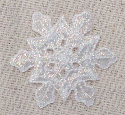 Large Snowflake White Iridescent/Christmas - Iron on Applique/Embroidered Patch