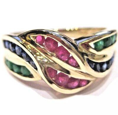 1.390.-€ Luxus-Ring 585 Gold, CHANNEL-SETTING, Smaragd, Saphir, Rubin-Multicolor