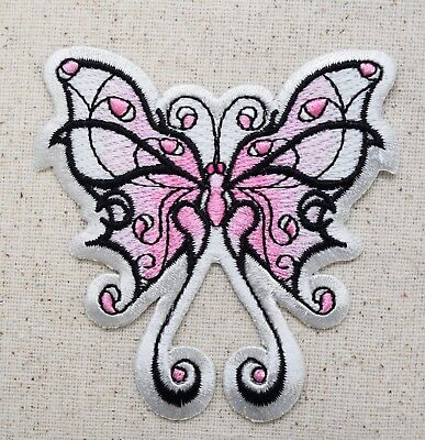 Large - Tribal Butterfly - Faded Pink/White - Iron on Applique/Embroidered Patch