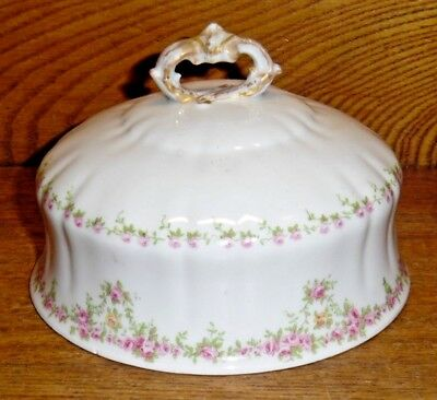 Replacement Wm Guerin Limoges France Round Covered Butter Lid GUE307 Pink Roses