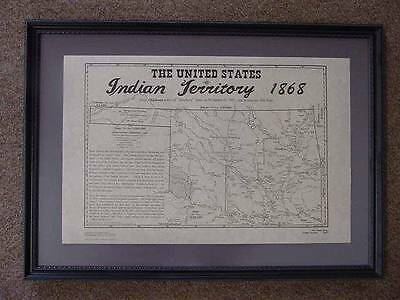 Oklahoma - Indian Territory -1868 Map + History Notes