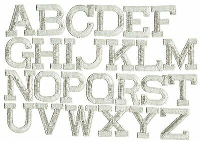"""SILVER - 2"""" Alphabet/Letters your choice - Iron on Applique/Embroidered Patch"""