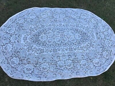 Vintage Off White Floral Lace Oval Tablecloth