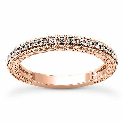 14 Kt Rose Gold Antique Style Wedding Band With 0.31 Carat Diamonds