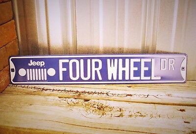 "Jeep Four Wheel Dr. Wrangler CJ Embossed 20"" Metal Tin Sign Vintage Garage New"