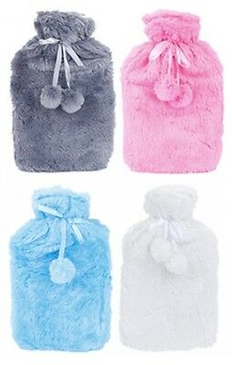 Hot Water Bottle With Cover Large Faux Fur Furry Pom Pom Fleece Sleeve 2L Litre