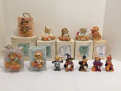 Lot of 12 Different Enesco Cherished Teddies Halloween Figurines Some with Boxes