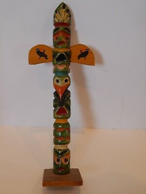 Antique VTG Native American Carved Painted Totem Pole w Wings