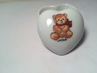 Vintage Enesco Lucy Rigg  Teddy Bear Trinket Ring Heart Shaped Box