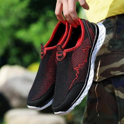 Mens Walking Outdoor Flats Sneakers  Breathable Mesh Slip On Water Shoes Running