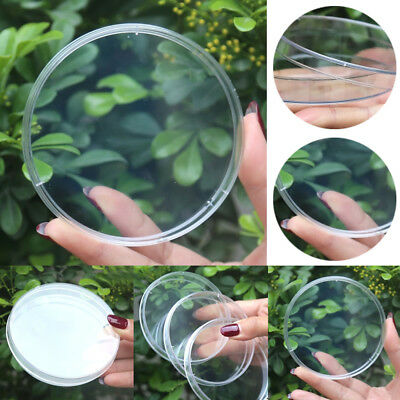 90mm Clear Plastic Cell Petri Dishes Bacterial Dish Plate Sterile Science Lab 1X