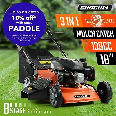 "SHOGUN 3-In-1 Cordless Lawn Mower Self Propelled 18"" 139cc 4 Stroke Petrol Mower"