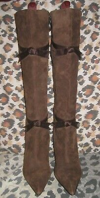 NINA Womens Genuine Brown Suede Leather Pointy Knee High Boots 10 Brn Satin Bows