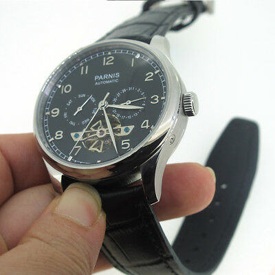 43mm Parnis Black Dial Automatic Movement Men's Casual Watch Day Date Indicator